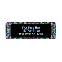 colorful dark pattern return address label