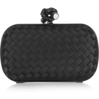 Bottega Veneta - The Knot watersnake-trimmed intrecciato satin clutch