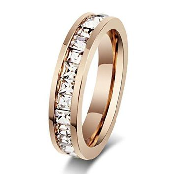Womens Stainless Steel Rose Gold Wedding Ring Channel Set Cubic Zirconia Engagement Eternity Band for Her