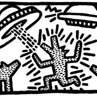 1982 dogs with UFOs Keith Haring Abstract Contemporary Pop Art Poster (Choose Size of Print)