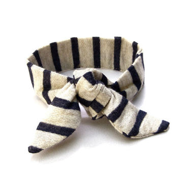 Navy Stripe Bun Wrap Nautical Hairband Top Knot Tie Wire Hair Accessory Pony Tail Wrap Bun Crown Wrist Wrap Womens Gift Idea Ready to Ship