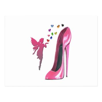 Pink Fairy and Stiletto Shoe Art Postcard