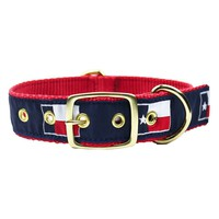 Dog Collar in Navy Ribbon on Red Canvas with Texas Flags by Country Club Prep