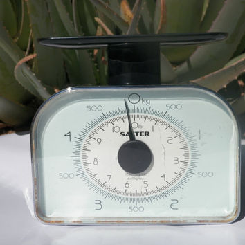Vintage Scale. Art Deco Style. Chrome. Aqua Blue. Midcentury. SALTER scale. Vintage Kitchen. Midcentury Home. Decor