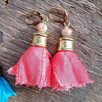 Tassel Earrings, Silk Earrings, Fringe Earrings, Ribbon Tassel Earrings, Bohemian Jewelry