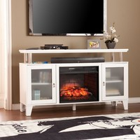 Cabrini Infrared Electric Media Fireplace - White