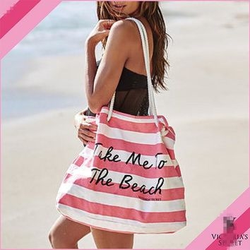 One Shoulder Tote Bag Canvas Pink Stripes Big Capacity Beach Bag [12149147091]