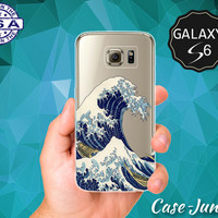 Tidal Wave Japanese Art Japan Ocean Water Storm Tumblr Wanelo Case for Clear Rubber Samsung Galaxy S6 and Samsung Galaxy S6 Edge Clear Cover