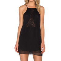 Mason by Michelle Mason Chiffon Lace Slip Dress in Black