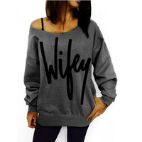 Printed Wifey Tee Shirt Women Casual Long Sleeve Crewneck Loose Sexy Shirt