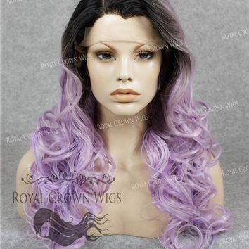 "24 inch Heat Safe Synthetic Wig Lace Front ""Rani"" with Curly Texture in Rooted Lilac"