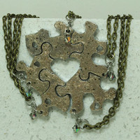 Friendship Puzzle Piece necklaces Set of 5 pendants with Crystals Gold painted