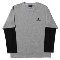 Converse Tide brand retro fake two-piece long-sleeved T-shirt grey
