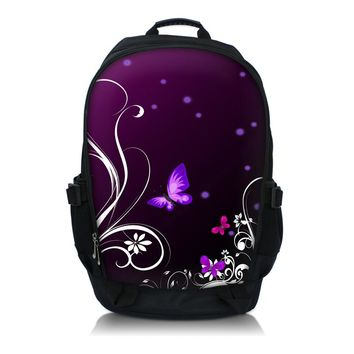 "Purper Butterfly  Print  Laptop Backpack School Book Backpack Travel Bag Up To 15.6"" Laptop"