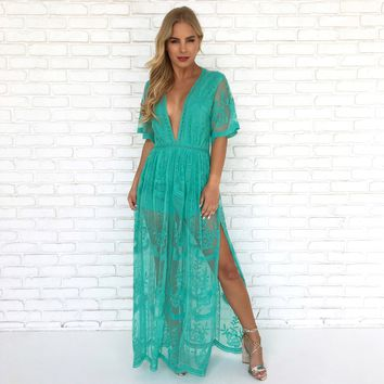 Wine & Dine Embroidered Maxi Dress in Turquoise