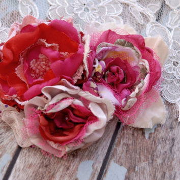 Bridal happy hair comb in fuschia red cream, bridal accessory, statement fabric flower head piece, Flower Girl, Country Wedding
