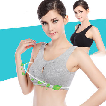 Women Sports Bra Profession Cotton Solid  Wire Free Natural ColorBrassiere Fitness Seamless Full Cup Push Up Ladies Top Bra