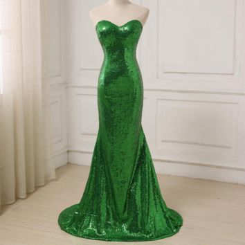 Green Sequined Prom Dresses Sexy Sweetheart Mermaid Party Evening Dress Lace-up Back