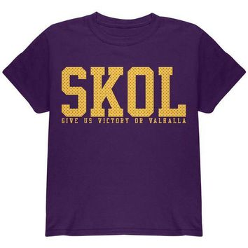 PEAPGQ9 Vikings Skol Give Us Victory or Valhalla Youth T Shirt