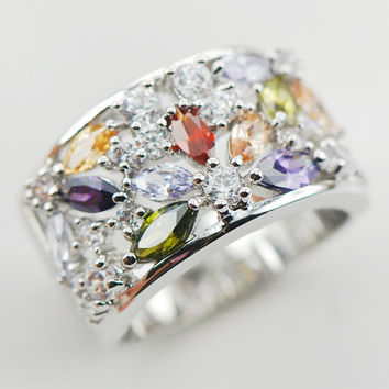 weinuo sterling-silver-jewelry White Crystal Zircon Garnet Morganite 925 sterling silver jewelry Ring Size 6 7 8 9 10 11 A31