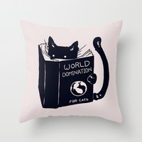 World Domination For Cats Throw Pillow by Tobe Fonseca