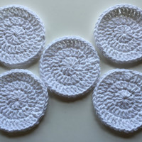 Crocheted Face Scrubbies - White, Eco-Friendly, Handmade, Face Cleansing