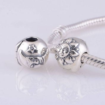 Bracelets bangle Pure 925 Sterling Silver Jewelry Bead Sun Star and Moon Clip Stopper.