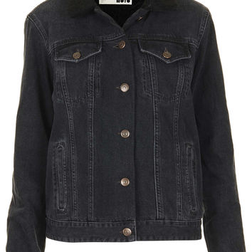 MOTO Black Borg Denim Jacket - Denim - Clothing - Topshop
