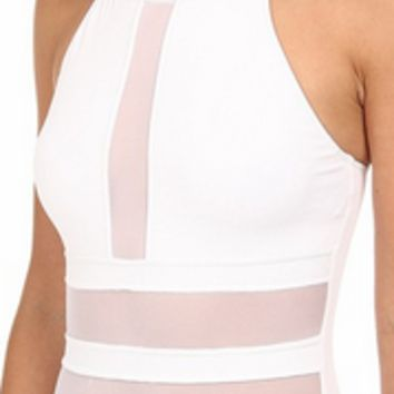 White Mesh Patchwork One Piece Swimsuit