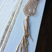 Extra Long Gray Tassel Necklace