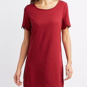 Scalloped-Trim Shift Dress | Charlotte Russe