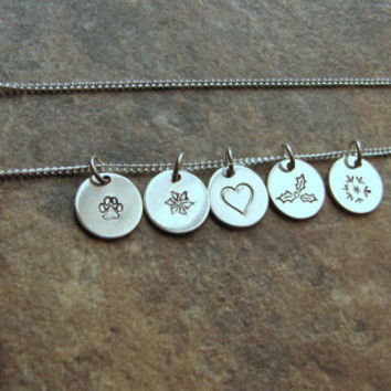 Stamped Design Necklace- Symbol Necklace- Sterling Silver- Charm Necklace- Simple- Everyday Necklace- Layering- Personalized Jewelry- Gift