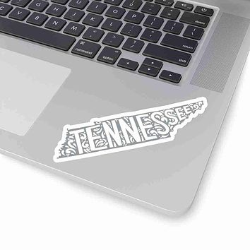 Tennessee State Shape Sticker Decal - Grey