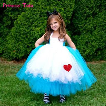 High Quality Princess Alice Dress Blue Baby Girl Cosplay Alice in Wonderland Tutu Dress Children Kids Halloween Party Costumes