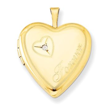 Sterling Silver Gold Filled 20mm Diamond in Heart Forever Heart Locket QLS285