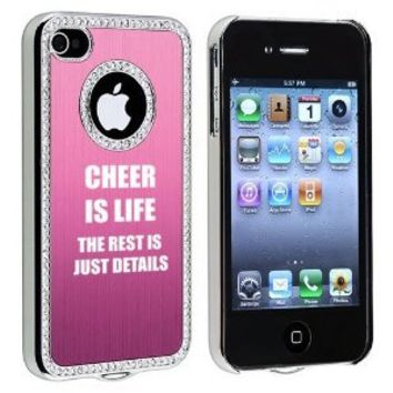 Apple iPhone 4 4S 4G Pink S898 Rhinestone Crystal Bling Aluminum Plated Hard Case Cover Cheer Is Life