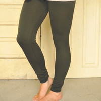 FLEECE LINED LEGGINGS- ARMY