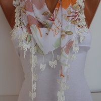 Multicolor Floral Chiffon Shawl Scarf - Headband -with Lace Edge - Trending Summer
