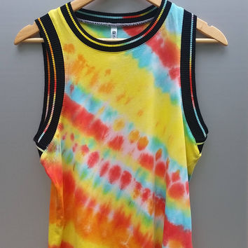 Athletic Tie Dye Fabletics Tank Top, Women's Size Medium, Gym Shirt, Girl's Rainbow Tank Top, Festival Top, Edm Top, Hippie Top, Boho