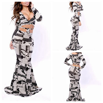 Newspaper Print Long Sleeve Cut-Out Fishtail Maxi Dress