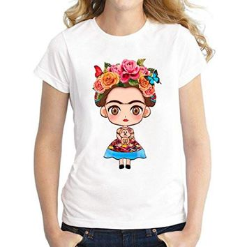 Frida Kahlo as Child on a T-Shirt / Top ( White Background)
