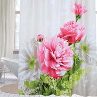Fabric polyester red peony waterproof shower curtain thicken shower curtain bathroom curtain