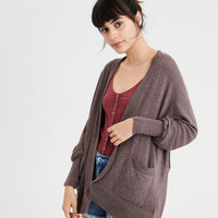AE Plush Pocket Cardigan, Brown