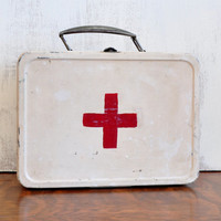 Vintage Hand-Painted Metal Lunch Box First Aid Kit, Rustic Storage Box