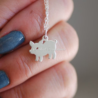 Little Piggy Necklace - Solid 925 Sterling Silver Silhouetted Pig Auspicious Optimism Symbol Charm - Free Domestic Shipping