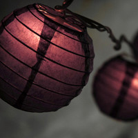 "Purple Paper Lanterns String Lights 10 Lanterns (10'8"") white wire $9.99 each / 3 for $8 each"