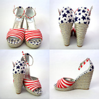 Stars and Stripes Platform Espadrille Wedges Size 8 Red White & Blue Heels