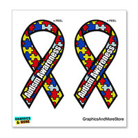 Autism Awareness Puzzle Ribbon - Set of 2 Stickers