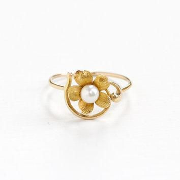 Antique Art Nouveau 14k Yellow Gold Flower Pearl Ring - Vintage 1900s Victorian Edward