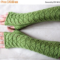 "Long Fingerless Gloves Wrist Warmers olive green 12"" Arm Warmers, Soft Acrylic"